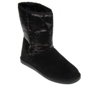 LAMO Sequin Girl Sz 7 Black Suede Pull on Boots Fleece Lining Customer