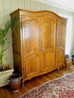 Country Armoire Wardrobe Closet Oak Recessed Panels 3 Doors Key