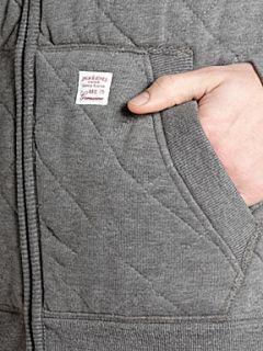 Jack & Jones Long sleeved quilted zip through hoody Grey