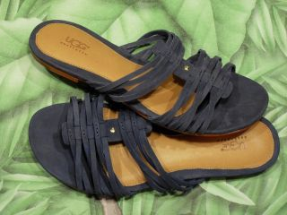 New Box UGG Medieval Blue Kaiti Leather Slide Sandals Womens Sz 6 9
