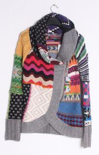 Desigual Womens Jers Lara Colorful Shawl Zip Knit Sweater Coat Jacket
