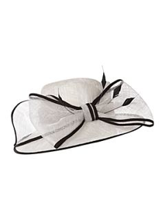 Linea Big bow hat with feathers & grosgrain trim   House of Fraser