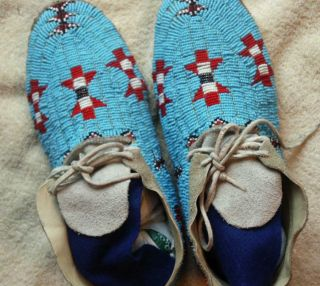 1920s 1930 Northern Cheyenne Full Beaded Hide Moccasins Morning Star