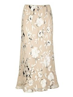 Jacques Vert Hazy floral devore skirt Cream