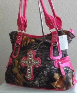 Western Hot Pink Camo Mossy Oak Rhinestone Cross Shopper Purse Bag