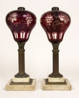 Pair of Antique Cut Ruby Sandwich Glass Oil Lamps Marble Brass