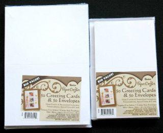 Blank Greeting Cards Envelopes Cardmaking White Combo 4x5 5x7