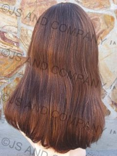 100 Human Hair Brown Gold Mix Wig Wigs Bangs Mola 26BT
