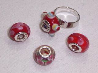 4pc Large Hole Colored Glass Beads and Interchangeable Adjustable Ring