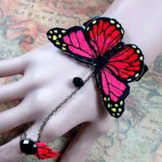 Sexy Belly Dance Rhinestone Red Butterfly Lace Gothic Slave Bracelet