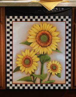 Sunflower Vivid Checkered Dishwasher Cover Large Kitchen Magnet