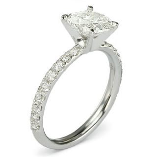 99 Ct G SI1 Cushion Cut Diamond Micro Pave Engagement Ring