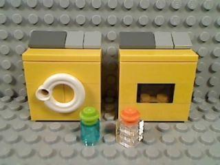 LEGO Yellow WASHING MACHINE & DRYER Laundry Room Fabric Softener Soap