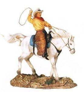 New Ceramic Western Decor Cowboy Lasso Horse Statue