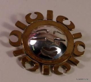 Vintage Laton Mexican Silver Brass Modernist Sun Pin Pendant