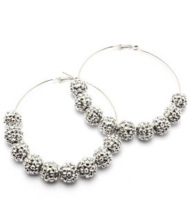 Celebrity Inspired Basketball Wives style silvertone hoop earrings
