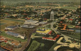 Fort Lauderdale FL Aerial View Old Postcard