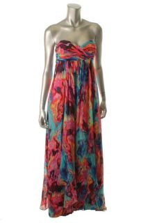 Laundry by Shelli Segal Multi Color Printed Silk Strapless Cocktail
