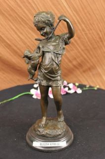 Signed Laporte Girl Playing w Cat Bronze Sculpture Art