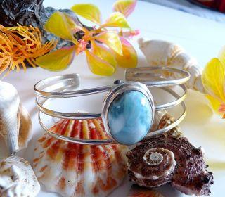 Caribbean Blue Larimar Cuff Bracelet Sterling Silver