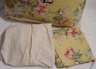 New Ralph Lauren Parsonage Lane Yellow Floral Queen Comforter Set 4pc