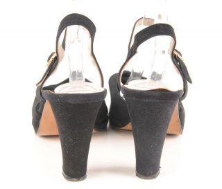 Joseph Larose 1940s Style Vintage Black Suede Pin Up Heels Pumps 11