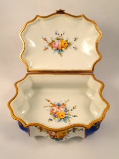 Early Sevres Large Jewelry Box Signed and Hand Painted