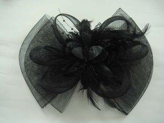 Bridal Feather Black Flower Headpiece Fascinator Hair Clip BA140