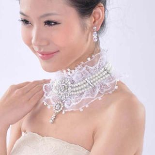 Bridal Prom Faux Pearl AB Crystal Ribbon Clip on Earring Necklace Set