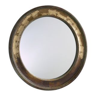 Western Wood Distressed Large Round Mirror