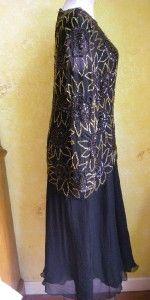 Gorgeous Laurence Kazar 100 Silk Beaded Dress Sz M Black w Gold