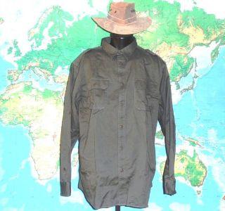 Lands End Safari Bush Shirt XLG w Epaulets Expedition Green EXL Cond