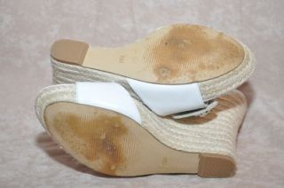 Guess Latonia White Leather Wedge Espadrille Sandal Women Shoes 7 5