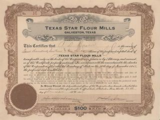 1919 Stock Certificate Lasker Advertising Pioneer Texas