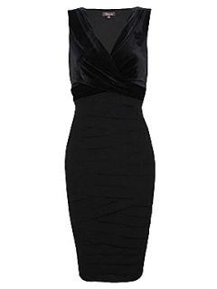 Alexon Black velvet shutter dress Black
