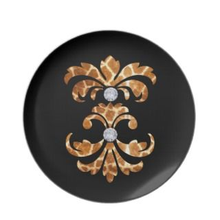 Glitzy Giraffe Damask Home Decor Kitchen Dinner Plates