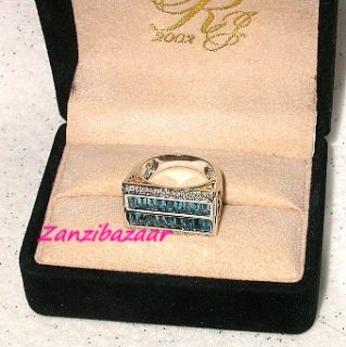 FABULOUS LAURA RAMSEY 14K WHITE GOLD LONDON BLUE TOPAZ & DIAMOND