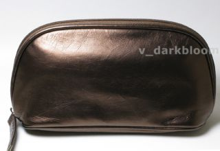Laura Mercier Chocolate Cosmetic Bag Makeup Case Faux Leather New