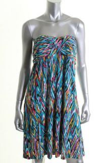Laundry by Shelli Segal New Blue Jersey Printed Strapless Casual Dress