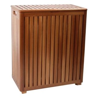Redmon Genuine Teak Wood Laundry Hamper w Removable Laundry Bag