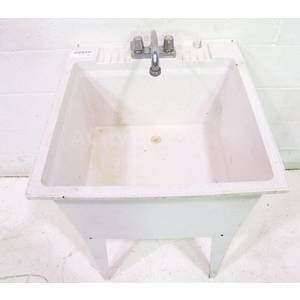 Used Free Standing 24 White Plastic MOP Laundry Sink