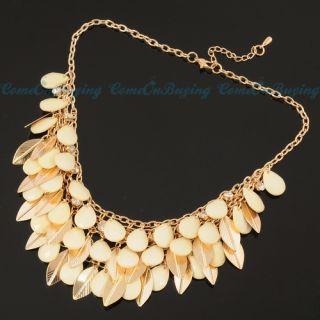 Leaf Jewelry White Waterdrop Resin Chain Pendant Necklace N793