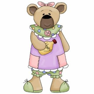 Cute Country Girl Teddy Bear Acrylic Cut Outs