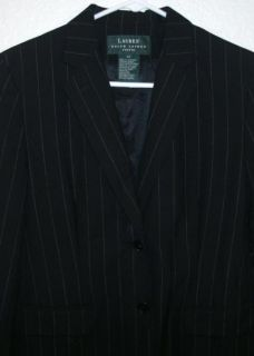 Lauren Ralph Lauren Black Pinstripe 100 Wool 2 Button Blazer Jacket Sz