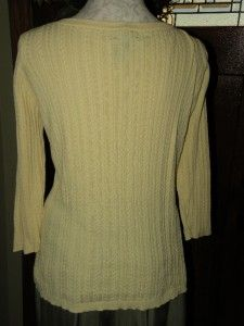 Lauren Ralph Lauren Plus 1x 16W 18W Yellow Cable Cotton Knit Pullover