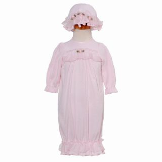 Laura Dare Preemie Baby Girls Pink Ruffle Gown and Hat Outfit