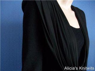 St John Black Santana Knit Black Draped Neck Back Dress M 10 12