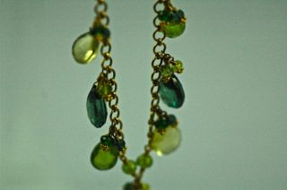 Laura Gibson Estate Necklace Earring Set Green Topaz Lemon Citrine 22K