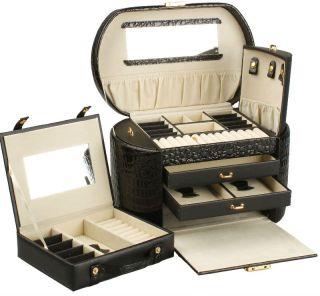 Round Crocodile PU Leather Jewelry Box Jewelry Case Display Box