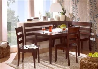 Solid Wood Corner Bench Kitchen Booth Breakfast Nook Set Table